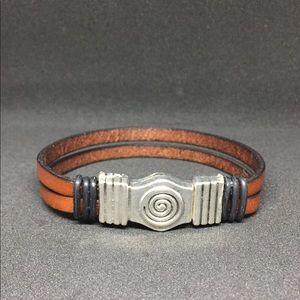"""Jewelry - 8"""" Dual Strap Bracelet w/Swirl Magnetic Clasp"""
